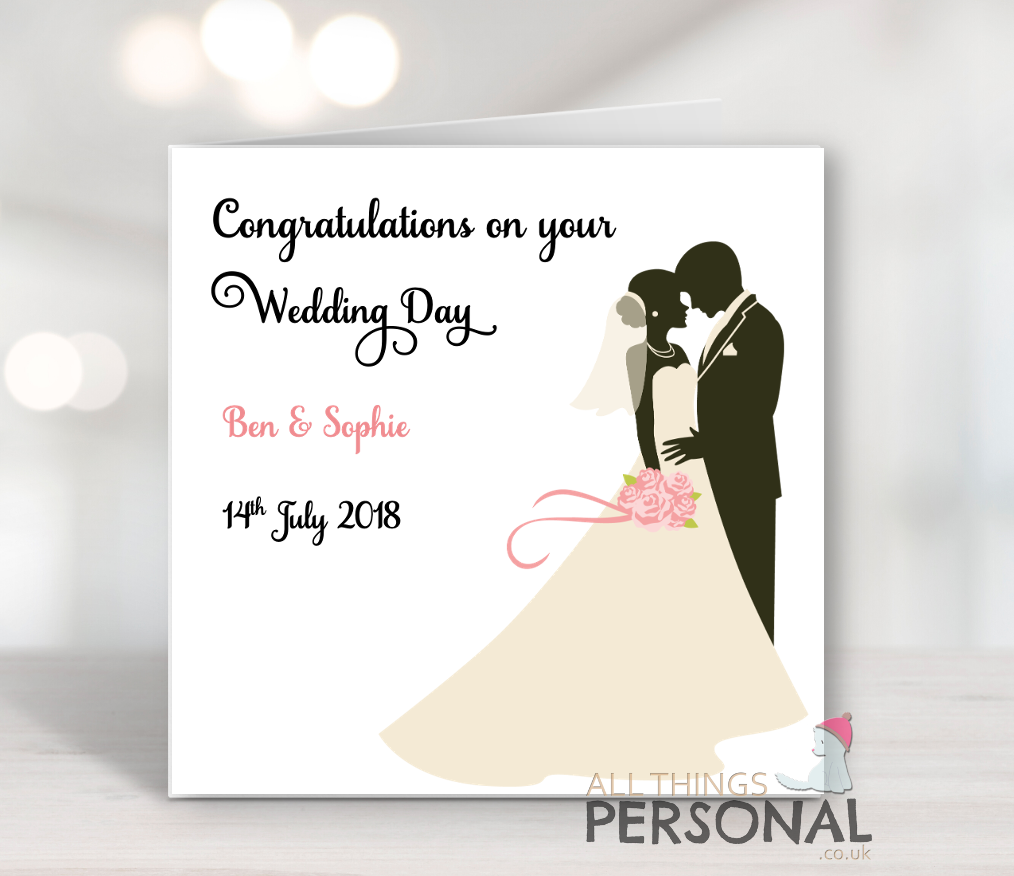 Congratulations on your wedding day Personalised Wedding Day card Card for Bride and Groom