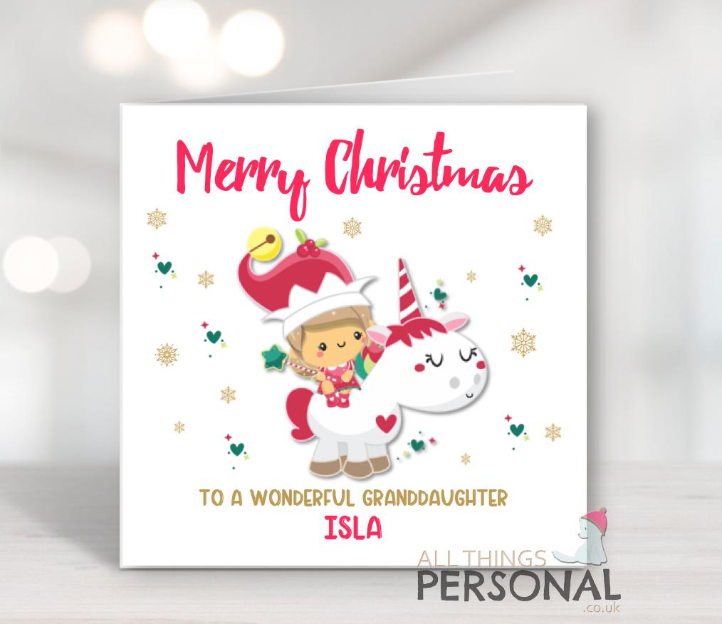 Personalised Unicorn Christmas Card Daughter Granddaughter Niece ...